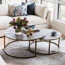 reen nesting coffee table brass
