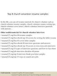 Church Volunteer Resume Sample Top224churchvolunteerresumesamples224lva224app622492thumbnail24jpgcb=22424322249022432 11