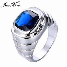 Man Finger Ring Design In Silver Junxin Gorgeous Design Luxury Male White Blue Finger Ring Fashion Silver Color Simple Ring Vintage Wedding Rings For Men