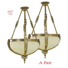 vintage rewired pair of edwardian chandeliers ceiling bowl lights ant 744 for antiques com classifieds