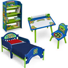 Toddler Bedroom Set Mutant Ninja Turtles Boys Bed Bookshelf Art Desk ...