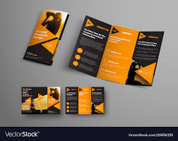 Ebrochure Template Black Triple Folding Brochure Template With
