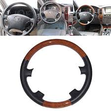 1982 toyota land cruiser fj60 electrical wiring diagram original 4 black leather brown wood steering wheel cover cap protector for 2003 to 2007 toyota land cruiser