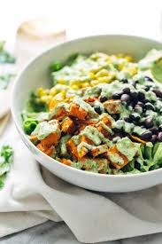this healthy y southwestern salad recipe has roasted sweet potatoes black beans corn
