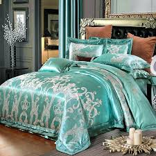 luxury turquoise and silver crown and scroll pattern victorian style western style jacquard satin full queen size bedding sets