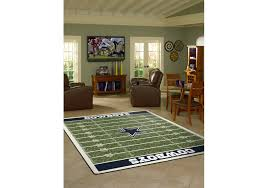 room with nfl home field rug
