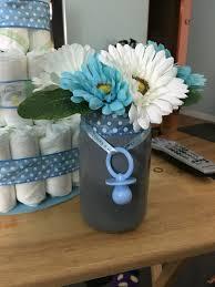 Baby Shower Centerpieces Finished Mason Jar Centerpiece For Boy Baby Shower My Diys