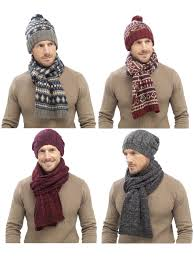 Mens Designer Hat Scarf And Gloves Set Details About Mens Luxury Fairisle Cable Knit Slouch Beanie Bobble Hat Scarf Gift Set Winter