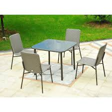 outdoor metal table set. Outsunny 5 Piece Outdoor Metal Rattan Wicker Dining Table And Chair Set - Gray M