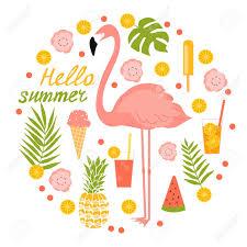 フラミンゴアイスクリームと花夏イラストのイラスト素材ベクタ