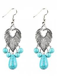 fashion faux turquoise beads chandelier earrings silver