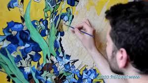 van gogh irises painting van gogh vase with irises against a yellow background art