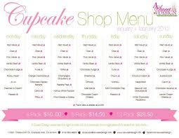 January February Cupcake Shop Menu A Sweet Design