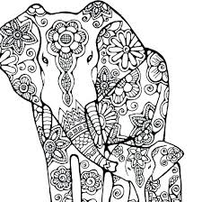 coloring page of an elephant pages to print and color nature flowers original instant digital