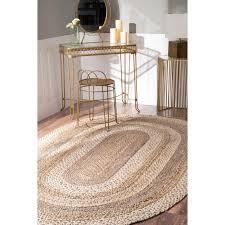 nuloom charlene braided border jute rug 5 x 8 natural oval tajt14a 508o