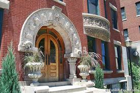 city apartment building entrance. city apartment building entrance and plants fronting the to blacherne apartments h