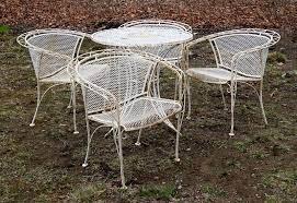 vintage wrought iron white mesh patio