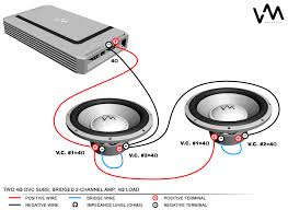 amp to sub wiring diagram amp wiring diagrams two 4ohm dvc subs bridged 2 channel amp 4ohm load amp to sub wiring diagram