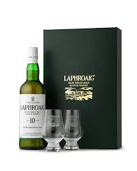 this gift box contains 1 bottle of 10 year old laphroaig 70cl and 2 beautiful nosing glasses these glasses are made exclusively for us by glencairn