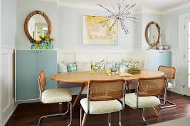 Mid Century Modern Dining Room Sets Beige Valance Wooden Varnished - Round modern dining room sets