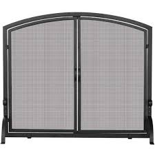 uniflame 44 inch black wrought iron fireplace screen with doors s 1064 bbqguys