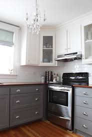 inexpensive grey kitchen cabinet ideas with wooden countertops