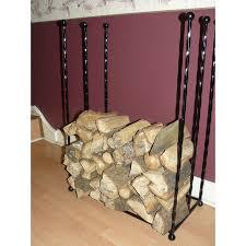 log basket hand crafted wrought iron black fireside oblong log wood basket holder