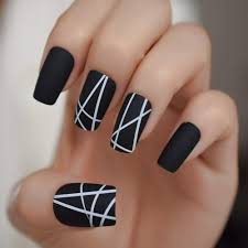 Cool Nail Designs With Black And White Coolnail White Line Matte False Fake Nails Black White Long Square Full Artificial Finish Design Frosted Nail