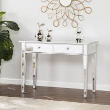 image southern enterprises illusions collection mirrored console table desk