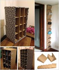 make a shoe organizer using cardboard boxes