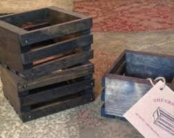Small Decorative Wooden Boxes Small Wood Crate With Rope Handles 60L x 60W x 32