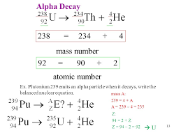 alpha decay 238 234 4 mass number 92 90 2 atomic number