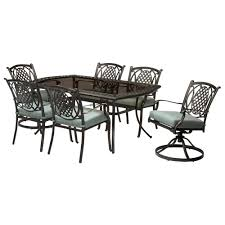 metal outdoor dining chairs. Hampton Bay Belcourt 7-Piece Metal Outdoor Dining Set With Spa Cushions Chairs
