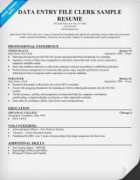 Data Entry File Clerk Resume Sample Resumecompanion Com Resume