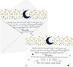 Check spelling or type a new query. Amazon Com Twinkle Little Star Baby Shower Thank You Cards With Envelopes 25 Pack Navy And Gold Celestial Moon Theme Thank You Note From Baby Boys Flat Stationery Set 4