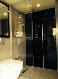 carbon black colored high gloss shower wall panels which look like back painted glass