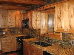 Custom rustic kitchen cabinets Wood Bar Splendid Hand Crafted Custom Alder Cabinets For Rustic Kitchen Cabinetry Set With Square Undermount Sink As Well As Stones Backsplash In Country Kitchen Bluecreekmalta Splendid Hand Crafted Custom Alder Cabinets For Rustic Kitchen
