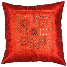 silk burgundy red accent sofa zardozi pillow cover  x