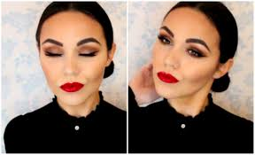 spanish inspired makeup tutorial tanned skin bold red lip you