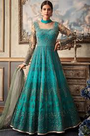 Frock Suit Neck Design Turquoise Blue Net And Raw Silk Wedding Anarkali Suit Indi Fashion