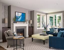 Transitional Living Room Design Adorable Blue And Grey Color Scheme Living Room Wonderful Interior Design