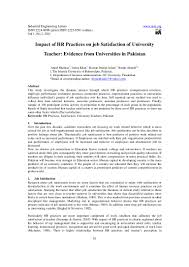 impact of hr practices on job satisfaction of university teacher evid