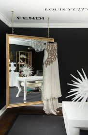 black white home office inspiration. Home Office : Tour This Amazing Fashion Blogger Transitional Inspiration Designer Chanel Hermes Prada Gucci Wall Decals Black And White Ideas