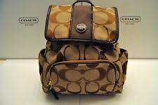 NWT Coach Signature Backpack Bag Stripe Signature Brown Khaki Mahogany  F21928