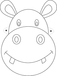 Hippo Mask Printable Coloring Page For