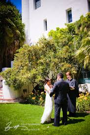 wedding ceremony in the sunken gardens of the santa barbara courthouse
