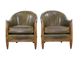Art Deco French Style F112 Barrel Chairs by Swaim Pair