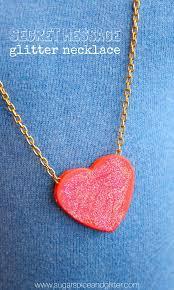 secret message glitter heart necklaces