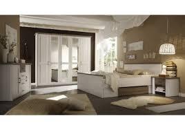 Schlafzimmer mit Bett 180 x 200 cm Pinie weiss/ Trüffel Woody 62 ...