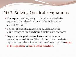 10 3 solving quadratic equations